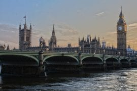 London with view of Big Ben and Houses of Parliament